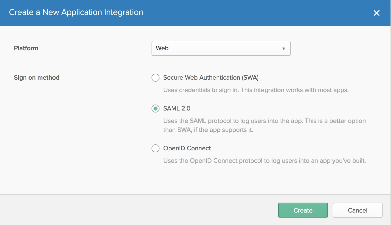 Okta New Application