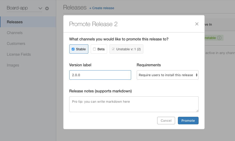 Promote Release With Notes