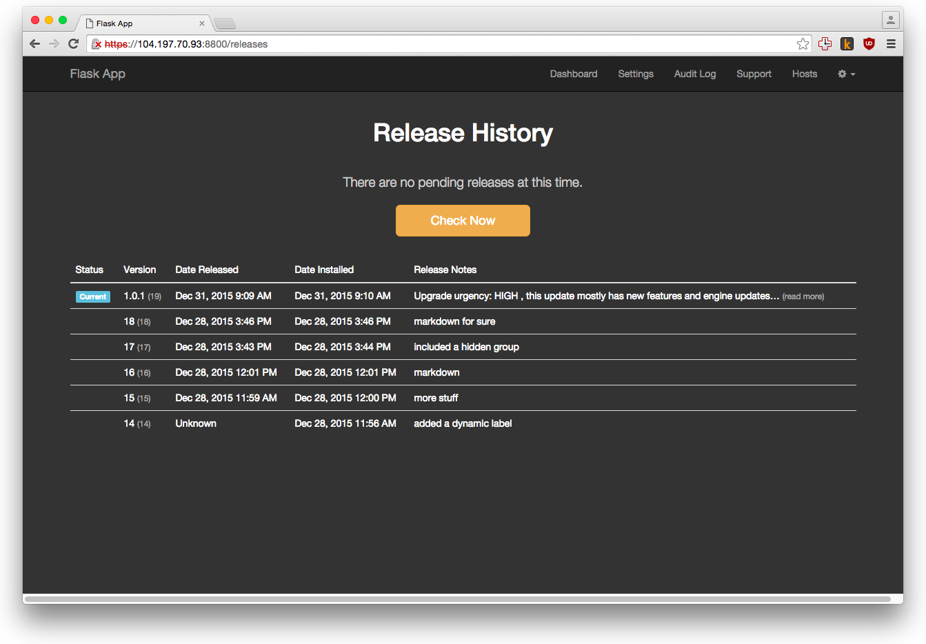 Release History No Updates